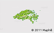 Physical 3D Map of New Territories, cropped outside