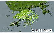 Physical 3D Map of New Territories, darken