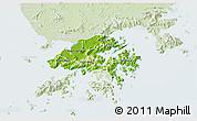 Physical 3D Map of New Territories, lighten