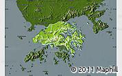 Physical Map of New Territories, darken