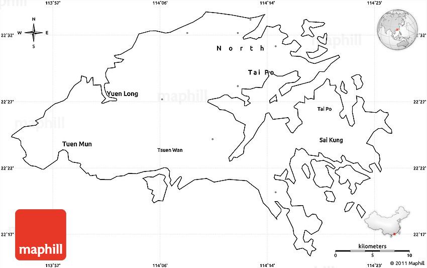 Blank Simple Map of New Territories cropped outside