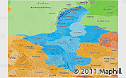 Political Shades Panoramic Map of Ningxia