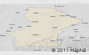 Shaded Relief Panoramic Map of Yanchi, desaturated