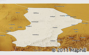 Shaded Relief Panoramic Map of Yanchi, physical outside