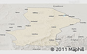 Shaded Relief Panoramic Map of Yanchi, semi-desaturated