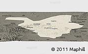 Shaded Relief Panoramic Map of Zhongwei, darken