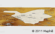 Shaded Relief Panoramic Map of Zhongwei, physical outside