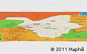 Shaded Relief Panoramic Map of Zhongwei, political outside
