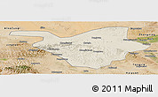 Shaded Relief Panoramic Map of Zhongwei, satellite outside