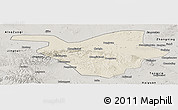Shaded Relief Panoramic Map of Zhongwei, semi-desaturated