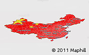 Flag Panoramic Map of China, flag centered