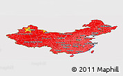 Flag Panoramic Map of China, flag aligned to the middle