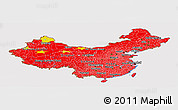 Flag Panoramic Map of China, flag rotated