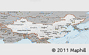 Gray Panoramic Map of China