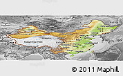 Physical Panoramic Map of China, desaturated