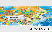 Physical Panoramic Map of China, political outside, shaded relief sea