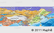 Physical Panoramic Map of China, political shades outside, shaded relief sea