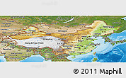 Physical Panoramic Map of China, satellite outside, shaded relief sea