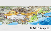 Physical Panoramic Map of China, semi-desaturated, land only