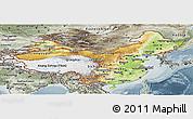 Physical Panoramic Map of China, semi-desaturated