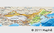Physical Panoramic Map of China, shaded relief outside