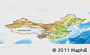 Physical Panoramic Map of China, single color outside