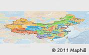 Political Panoramic Map of China, lighten