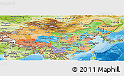 Political Panoramic Map of China, physical outside