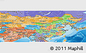 Political Panoramic Map of China, political shades outside