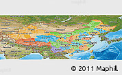 Political Panoramic Map of China, satellite outside, bathymetry sea