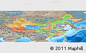 Political Panoramic Map of China, semi-desaturated, land only