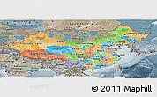 Political Panoramic Map of China, semi-desaturated