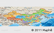 Political Panoramic Map of China, shaded relief outside, bathymetry sea