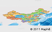 Political Panoramic Map of China, single color outside