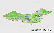 Political Shades Panoramic Map of China, cropped outside