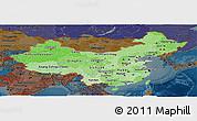 Political Shades Panoramic Map of China, darken