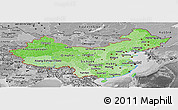 Political Shades Panoramic Map of China, desaturated