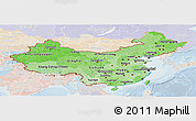 Political Shades Panoramic Map of China, lighten