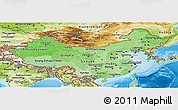 Political Shades Panoramic Map of China, physical outside
