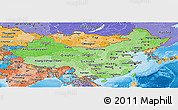 Political Shades Panoramic Map of China