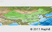 Political Shades Panoramic Map of China, satellite outside, bathymetry sea