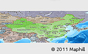 Political Shades Panoramic Map of China, semi-desaturated, land only