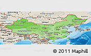 Political Shades Panoramic Map of China, shaded relief outside, bathymetry sea