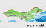 Political Shades Panoramic Map of China, single color outside