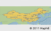 Savanna Style Panoramic Map of China, single color outside