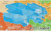 Political Shades 3D Map of Qinghai