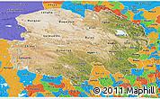 Satellite 3D Map of Qinghai, political outside