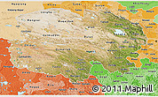 Satellite 3D Map of Qinghai, political shades outside