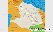 Shaded Relief Map of Daqaidam, political outside