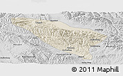 Shaded Relief Panoramic Map of Datong, desaturated